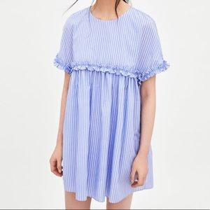 Zara Striped Blue Short Jumpsuit Dress